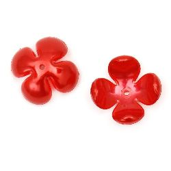 Flower pearl hat 24x24x11 mm hole 2 mm red -10 pieces