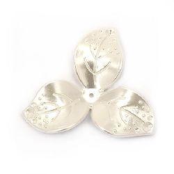 Perlă tip  floare  51x10  mm gaură 2 mm culoare crem -4 bucăți ~ 19 grame