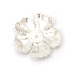 Margele  floare de perle 36x7 mm gaură 2 mm culoare crem -20 grame -8 bucăți