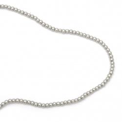 Γυάλινες χάντρες απομίμηση μαργαριτάρι 4 mm τρύπα 1 mm υπόλευκο ~ 80 cm ~ 216 τεμάχια