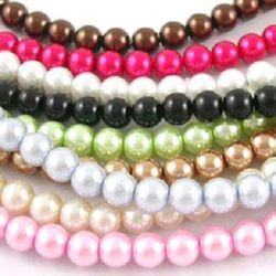 Pearl glass beads  strands, round glossy balls for earrings, key chains, bracelets or necklace pendant making 14 mm assorted colors ~ 80 cm ~ 60 pieces