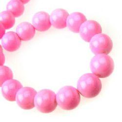 Наниз мъниста стъкло топче 10 мм плътно розово -80 см ~85 броя