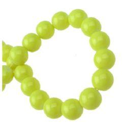 Наниз мъниста стъкло топче 10 мм плътно жълто -80 см ~85 броя