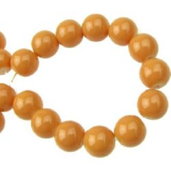 Наниз мъниста стъкло топче 10 мм плътно оранжево -80 см ~85 броя