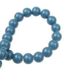 Γυάλινες χάντρες απομίμηση μαργαριτάριου  8 mm ματ μπλε -80 cm ~ 115 τεμάχια