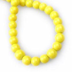 Наниз мъниста стъкло топче 6 мм плътно жълто тъмно -80 см ~150 броя