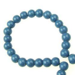 Наниз мъниста стъкло топче 6 мм плътно синьо -80 см ~150 броя