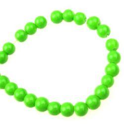 Наниз мъниста стъкло топче 6 мм плътно зелено -80 см ~150 броя