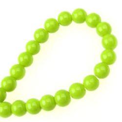 Наниз мъниста стъкло топче 6 мм плътно Olive -80 см ~150 броя
