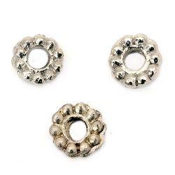 Χάντρες τρύπα 7x2.5 mm 2 mm ασημί -20 κομμάτια