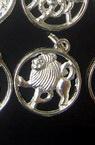 Zodiac semne argint metalic 18 mm într-un cerc -12 bucăți