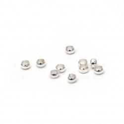 Bilă metalică stopare 2,5 găuri 1,3 mm culoare alb -200 buc