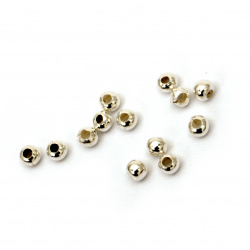 Metal polished  ball beads 3 mm hole 1.2 mm color white - 200 pieces
