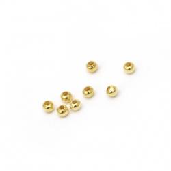 Bilă metalică 3,2 mm gaură 1,3 mm culoare auriu -200 buc