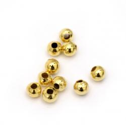 Bilă metal auriu -4x1,3 mm gaură -100 buc