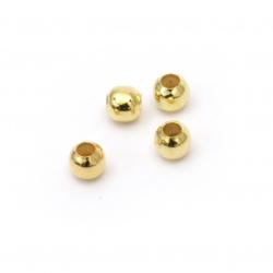 Bilă metalică 5 mm gaură 2 mm culoare auriu -100 bucăți