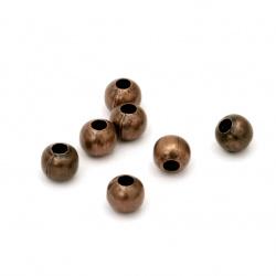Χάντρα στρόγγυλη 5 mm τρύπα 1.5 mm χάλκινο -100 τεμάχια