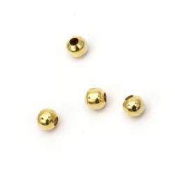 Bilă metalică 6 mm gaură 2 mm culoare auriu -100 piese