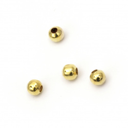 Топче метално 6 мм дупка 2 мм цвят злато -100 броя