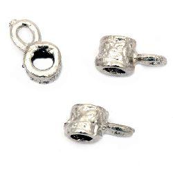 Margele cilindru metalic 6x7 mm gaură 5 mm culoare argint vechi -20 bucăți