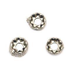 Perle șaibă metalică 7x3 mm gaură 3 mm culoare argint vechi -20 bucăți