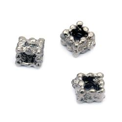 Margele metalice pătrate 6x4 mm gaură 2 mm culoare veche argint -20 bucăți