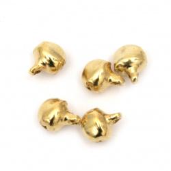 Clopotel metalic 6x6x8 mm gaură 1,5 mm culoare  auriu vechi - 50 bucăț