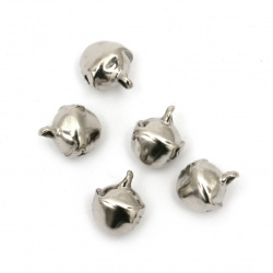 Metal Jingle bell for jewelry making and DIY decorations 8x7x10 mm hole 1.5 mm first quality color silver - 50 pieces