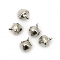 Звънче метал 8x7x10 мм дупка 1.5 мм първо качество цвят сребро - 50 броя
