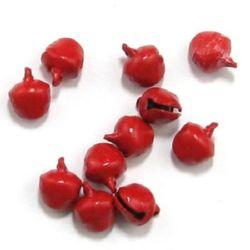 Clopotel  metalic 10x11 mm gaură 2 mm culoare roșu -50 bucăți