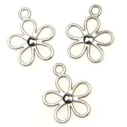 Flori metalice pandantiv 29x24x4 mm gaură 3 mm culoare argintiu -4 bucăți ~ 11 grame