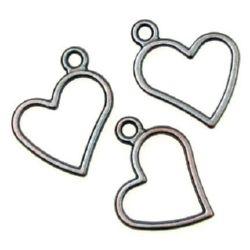 Висулка метална сърце 29x23.5x2 мм дупка 2.5 мм цвят мед -10 грама ~ 7 броя