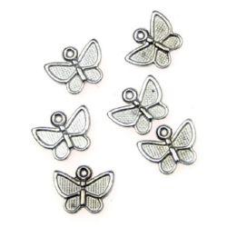 Πεταλούδα κρεμαστό 10x13x2 mm τρύπα 1 mm ασημί -10 γραμμάρια ~ 14 τεμάχια