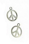 Metal pendant with peace sign 8x10 mm hole 2 mm color silver - 50 pieces
