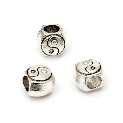 Metal bead with engraved ying yang sign 9x10x8 mm hole 5 mm color silver - 5 pieces