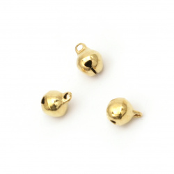 Metal Jingle bell for jewelry making and DIY decorations 8x10 mm hole 1.5 mm first quality color gold - 50 pieces