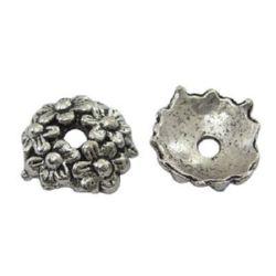 Мънисто метал шапка 11x3.5 мм дупка 2 мм цвят сребро -10 броя