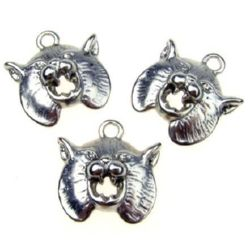 Metal charm in shape of cat's face 20x19x5 mm hole 2 mm color white - 5 pieces