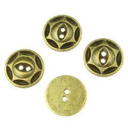 Round metal button bead 16.5x2 mm hole 2 mm color antique bronze - 5 pieces