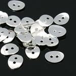 Мънисто метал копче 10x14x1 мм дупка 1 мм цвят бял -5 броя