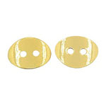 Oval metal button bead 10x14x1 mm hole 1 mm color gold - 5 pieces