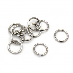 Steel ring Jewelry Making 6x0.7 mm color silver -20 pieces