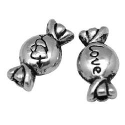 Margele metalice bomboane 11x6x4 mm gaură 1 mm -10 bucăți