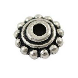 Мънисто метал цвете 8x4 мм дупка 2 мм цвят старо сребро -10 броя