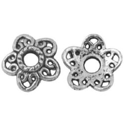 Beaded metal flower Jewelry Making 12x11.5x3 mm hole 3 mm -10 pieces