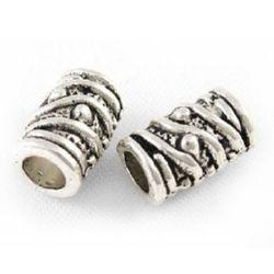 Мънисто метал цилиндър 5.5x9 мм дупка 3 мм цвят старо сребро -10 броя