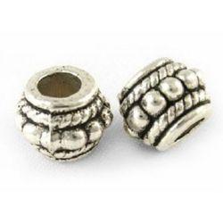 Margele metalica  butoi 8x6,5 mm gaură 3,5 mm -10 bucăți
