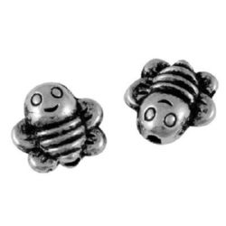 Bead metal tiny bee 9x9x4 mm hole 1 mm color old silver - 10 pieces