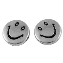 Round metal bead with a smile 10x3 mm hole 1 mm color silver - 10 pieces
