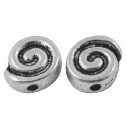 Мънисто метал спирала 9x8x3.5 мм дупка 2 мм -10 броя